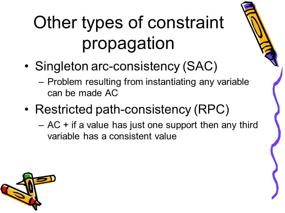Other types of constraint propagation Singleton arc-consistency (SAC) –Problem resulting from instantiating any variable can be made AC Restricted pat