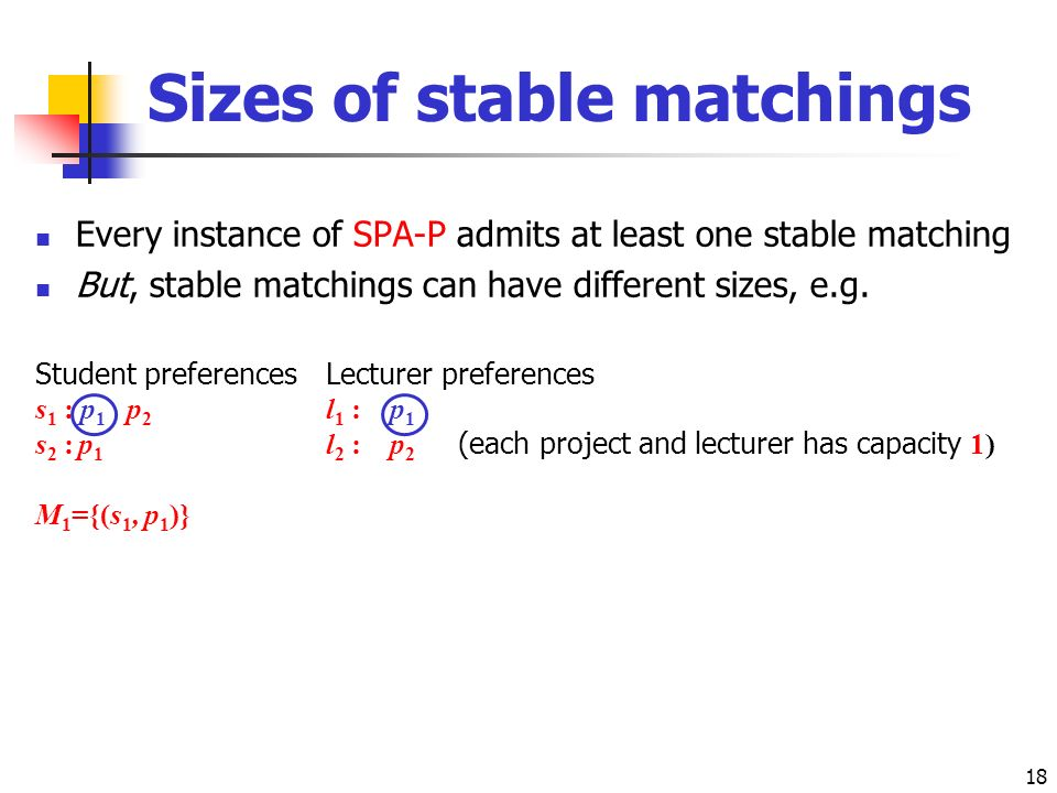 18 Sizes of stable matchings Every instance of SPA-P admits at least one stable matching But, stable matchings can have different sizes, e.g.