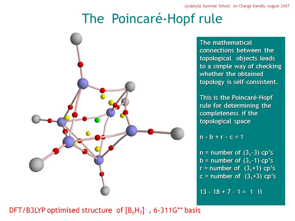 The Poincaré-Hopf rule Jyväskylä Summer School on Charge Density August 2007 The mathematical connections between the topological objects leads to a s