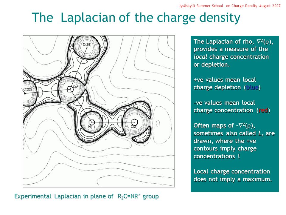 The Laplacian of the charge density Jyväskylä Summer School on Charge Density August 2007 The Laplacian of rho, 2 ( ), provides a measure of the local
