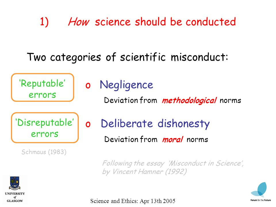 Following the essay Misconduct in Science, by Vincent Hamner (1992) Science and Ethics: Apr 13th 2005 1)How science should be conducted Two categories