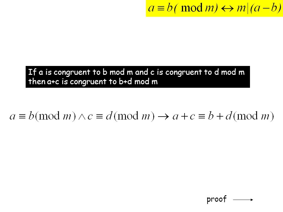 If a is congruent to b mod m and c is congruent to d mod m then a+c is congruent to b+d mod m proof