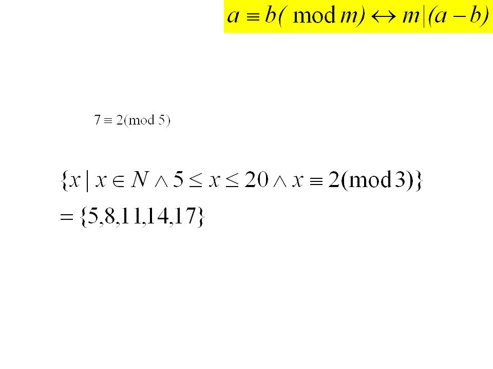 Mod arithmetic -133 mod 9 = 2 (but in Claire?) list 5 numbers that are congruent to 4 modulo 12 hash function h(k) = k mod 101 h(104578690) h(432222187) h(372201919) h(501338753) examples
