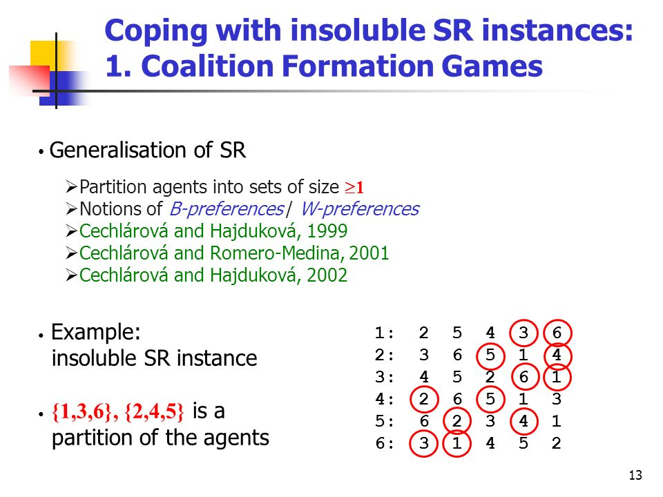 13 Coping with insoluble SR instances: 1. Coalition Formation Games Generalisation of SR Partition agents into sets of size 1 Notions of B-preferences