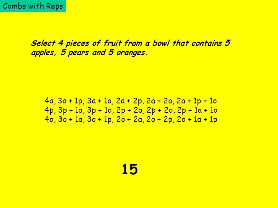 Combs with Reps Select 4 pieces of fruit from a bowl that contains 5 apples, 5 pears and 5 oranges. 4a, 3a + 1p, 3a + 1o, 2a + 2p, 2a + 2o, 2a + 1p +