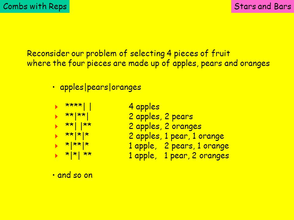 Combs with RepsStars and Bars Reconsider our problem of selecting 4 pieces of fruit where the four pieces are made up of apples, pears and oranges app