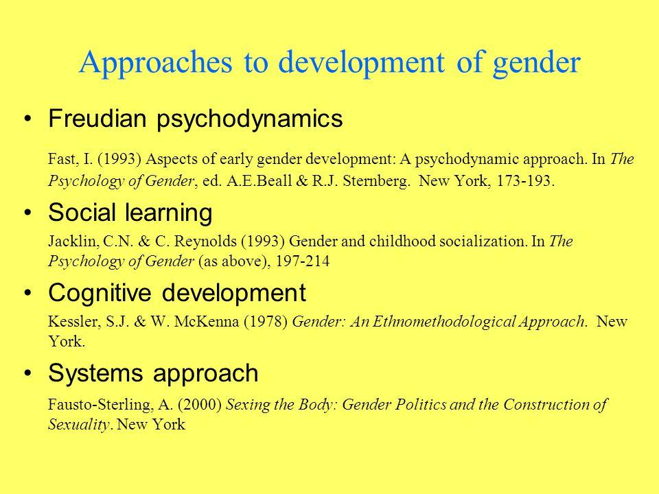Approaches to development of gender Freudian psychodynamics Fast, I.