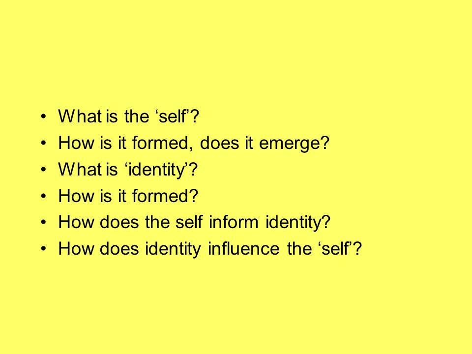 What is the self. How is it formed, does it emerge.