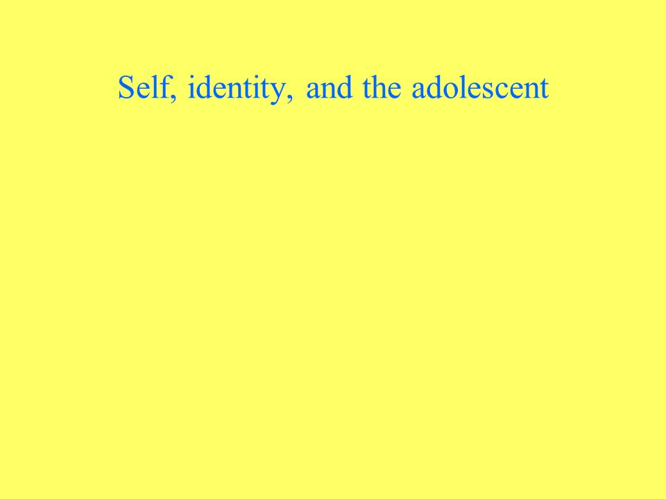 Self, identity, and the adolescent
