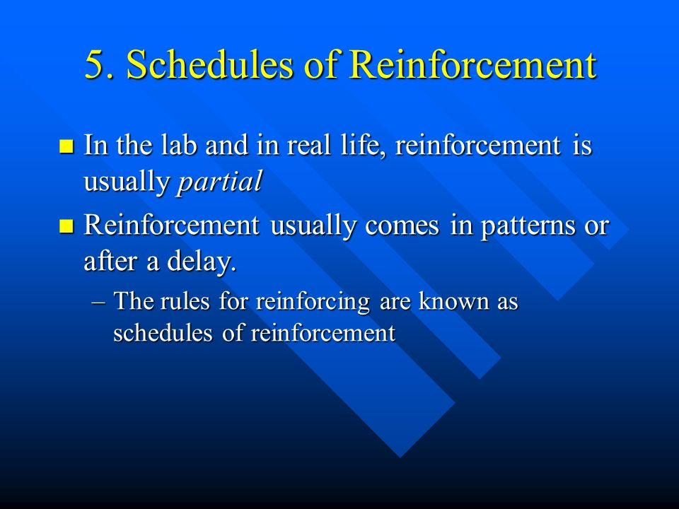 5. Schedules of Reinforcement In the lab and in real life, reinforcement is usually partial In the lab and in real life, reinforcement is usually part