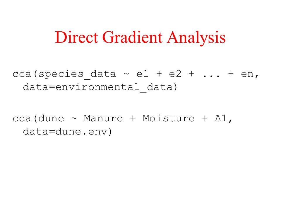 Direct Gradient Analysis cca(species_data ~ e1 + e2 +... + en, data=environmental_data) cca(dune ~ Manure + Moisture + A1, data=dune.env)