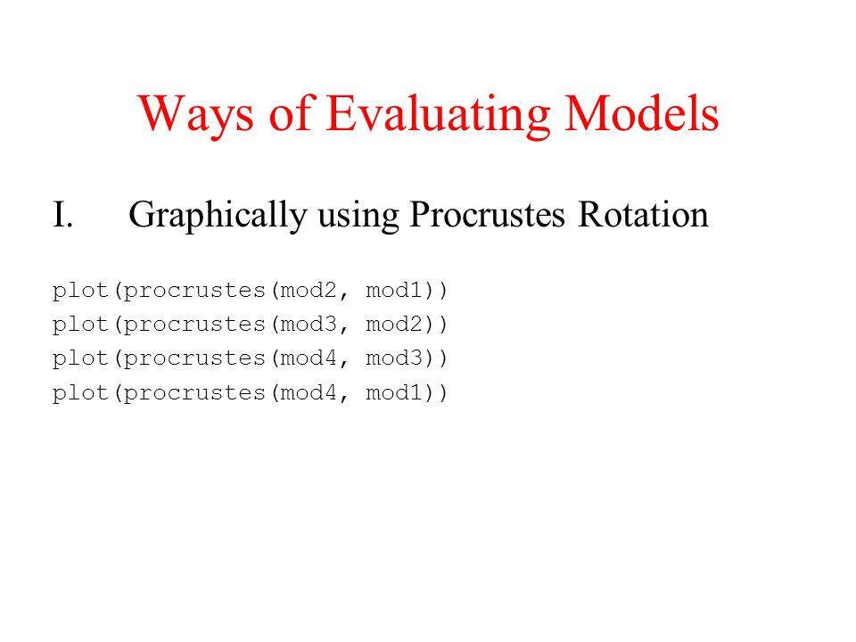 Ways of Evaluating Models I.Graphically using Procrustes Rotation plot(procrustes(mod2, mod1)) plot(procrustes(mod3, mod2)) plot(procrustes(mod4, mod3