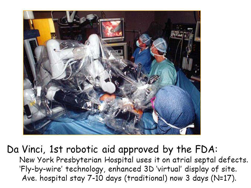 Da Vinci, 1st robotic aid approved by the FDA: New York Presbyterian Hospital uses it on atrial septal defects. Fly-by-wire technology, enhanced 3D vi