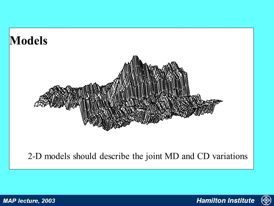 10 MAP lecture, 2003 Hamilton Institute Models 2-D models should describe the joint MD and CD variations