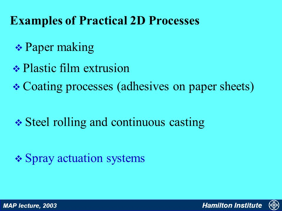 2 MAP lecture, 2003 Hamilton Institute Examples of Practical 2D Processes v Plastic film extrusion v Coating processes (adhesives on paper sheets) v S