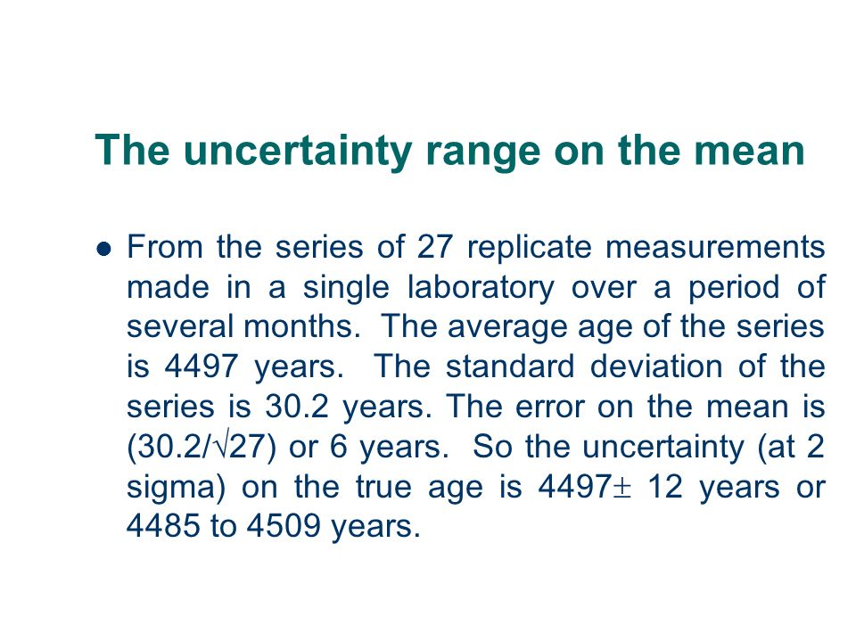 The uncertainty range on the mean From the series of 27 replicate measurements made in a single laboratory over a period of several months. The averag