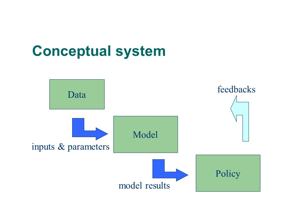 Conceptual system Data Model Policy inputs & parameters model results feedbacks