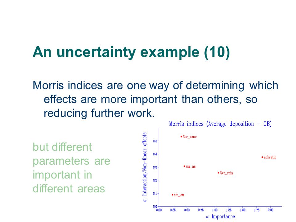An uncertainty example (10) Morris indices are one way of determining which effects are more important than others, so reducing further work. but diff