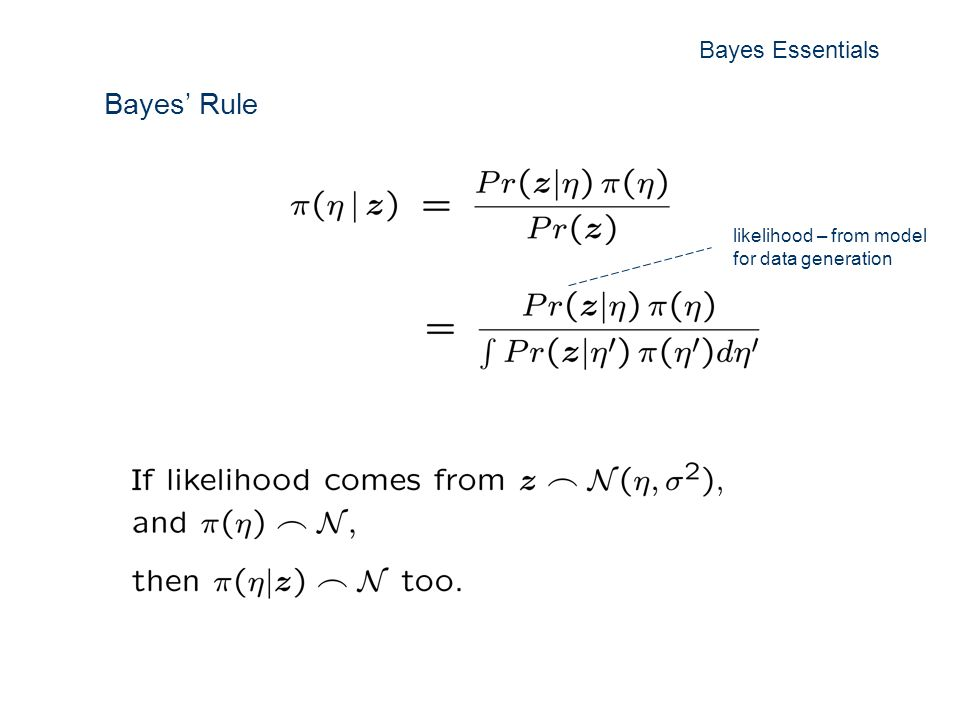 Bayes Rule likelihood – from model for data generation Bayes Essentials