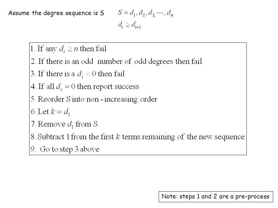 Assume the degree sequence is S Note: steps 1 and 2 are a pre-process