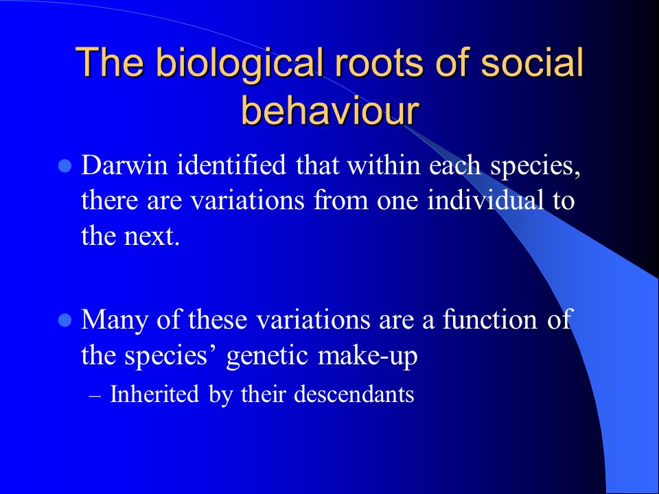 The biological roots of social behaviour Darwin identified that within each species, there are variations from one individual to the next. Many of the