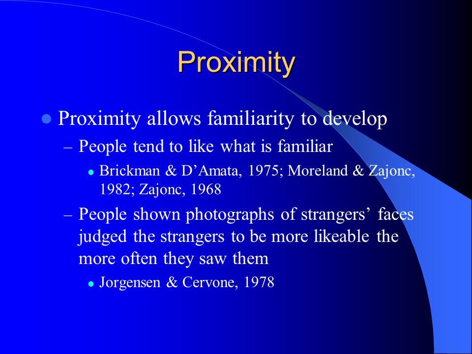 Proximity Proximity allows familiarity to develop – People tend to like what is familiar Brickman & DAmata, 1975; Moreland & Zajonc, 1982; Zajonc, 196