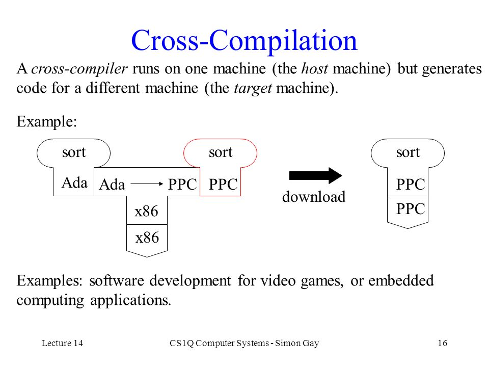 Lecture 14CS1Q Computer Systems - Simon Gay16 Cross-Compilation A cross-compiler runs on one machine (the host machine) but generates code for a diffe