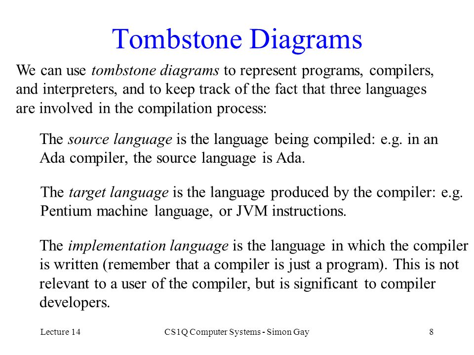 Lecture 14CS1Q Computer Systems - Simon Gay8 Tombstone Diagrams We can use tombstone diagrams to represent programs, compilers, and interpreters, and