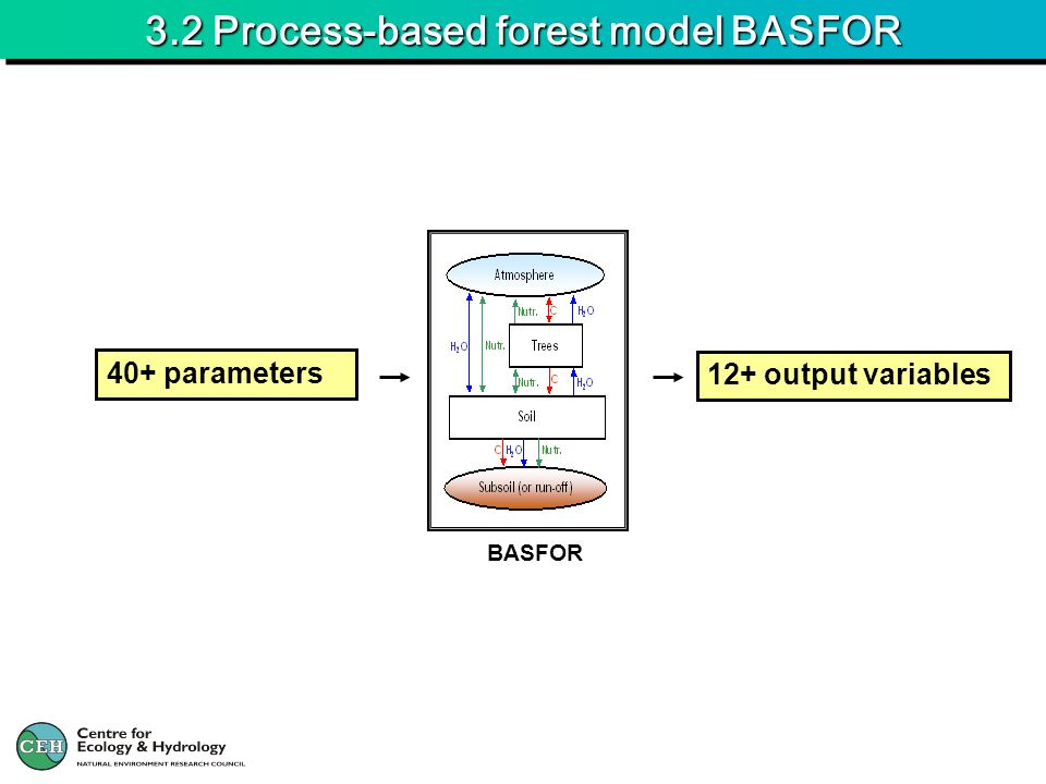 3.2 Process-based forest model BASFOR BASFOR 40+ parameters 12+ output variables