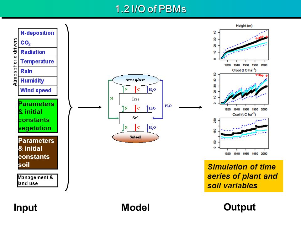 1.2 I/O of PBMs Parameters & initial constants vegetation Parameters & initial constants soil Atmospheric drivers InputModel Output Management & land use Simulation of time series of plant and soil variables