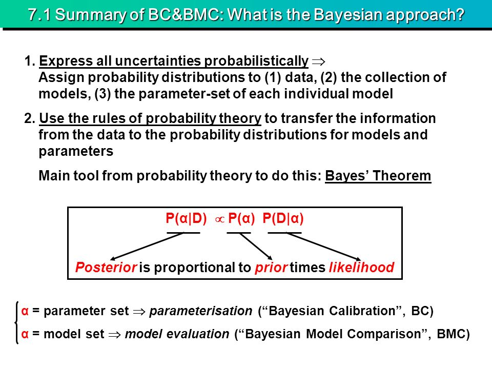 7.1 Summary of BC&BMC: What is the Bayesian approach.