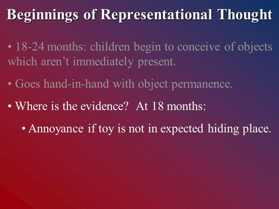 Beginnings of Representational Thought months: children begin to conceive of objects which arent immediately present.
