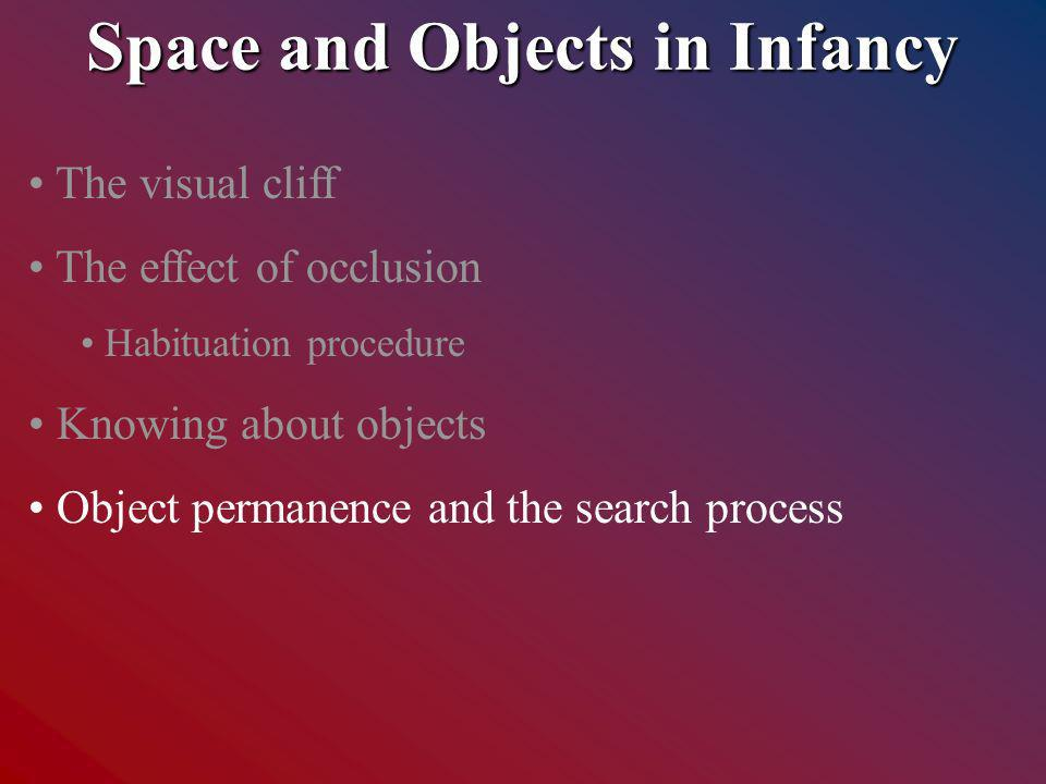 Space and Objects in Infancy The visual cliff The effect of occlusion Habituation procedure Knowing about objects Object permanence and the search process