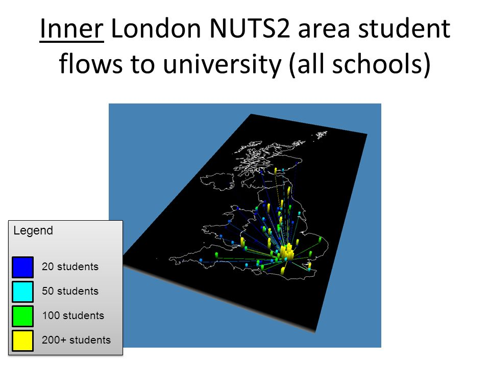 Inner London NUTS2 area student flows to university (all schools) Legend 20 students 50 students 100 students 200+ students