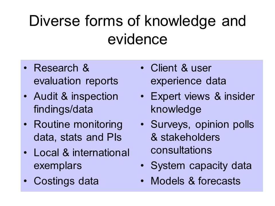 Diverse forms of knowledge and evidence Research & evaluation reports Audit & inspection findings/data Routine monitoring data, stats and PIs Local &