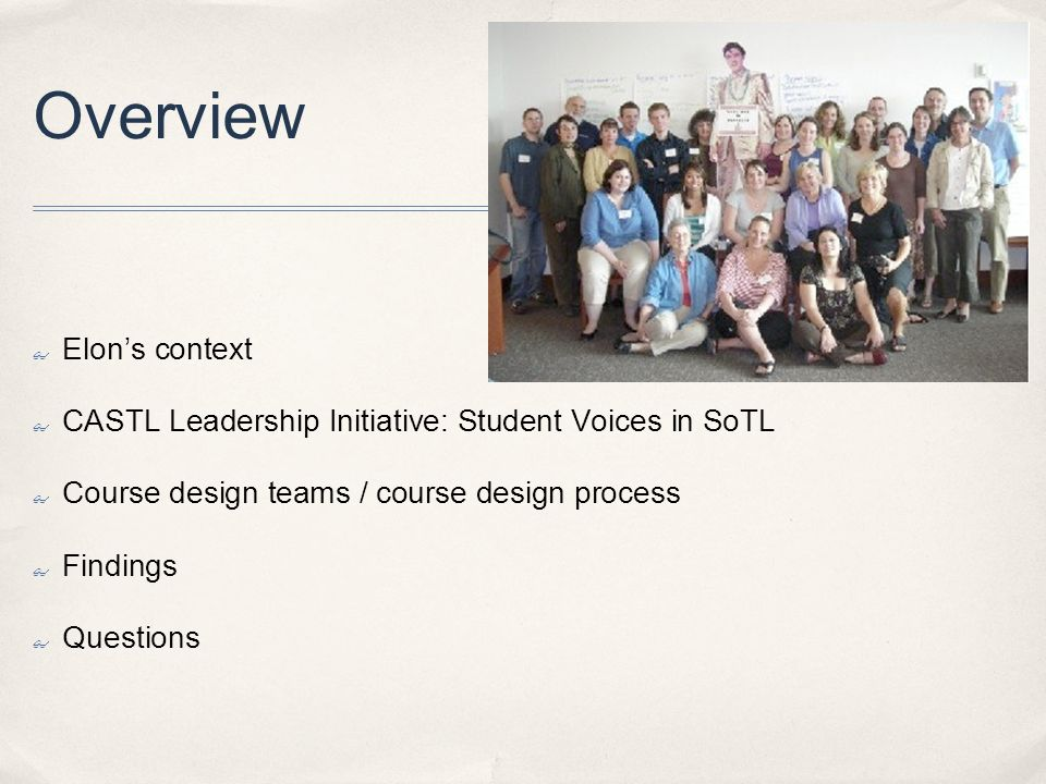 Overview Elons context CASTL Leadership Initiative: Student Voices in SoTL Course design teams / course design process Findings Questions