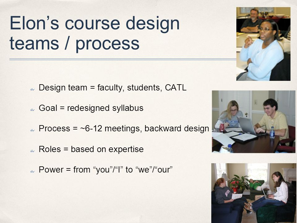 Elons course design teams / process Design team = faculty, students, CATL Goal = redesigned syllabus Process = ~6-12 meetings, backward design Roles = based on expertise Power = from you/I to we/our