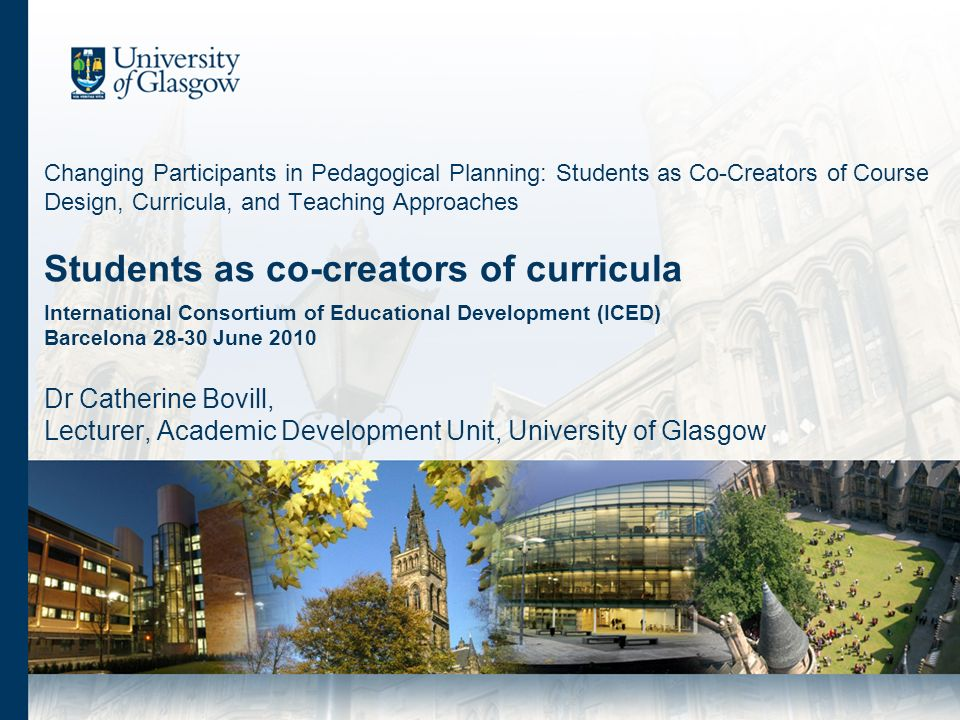 Changing Participants in Pedagogical Planning: Students as Co-Creators of Course Design, Curricula, and Teaching Approaches Students as co-creators of