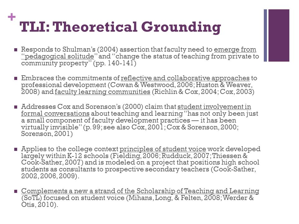 + TLI: Theoretical Grounding Responds to Shulmans (2004) assertion that faculty need to emerge from pedagogical solitude and change the status of teac