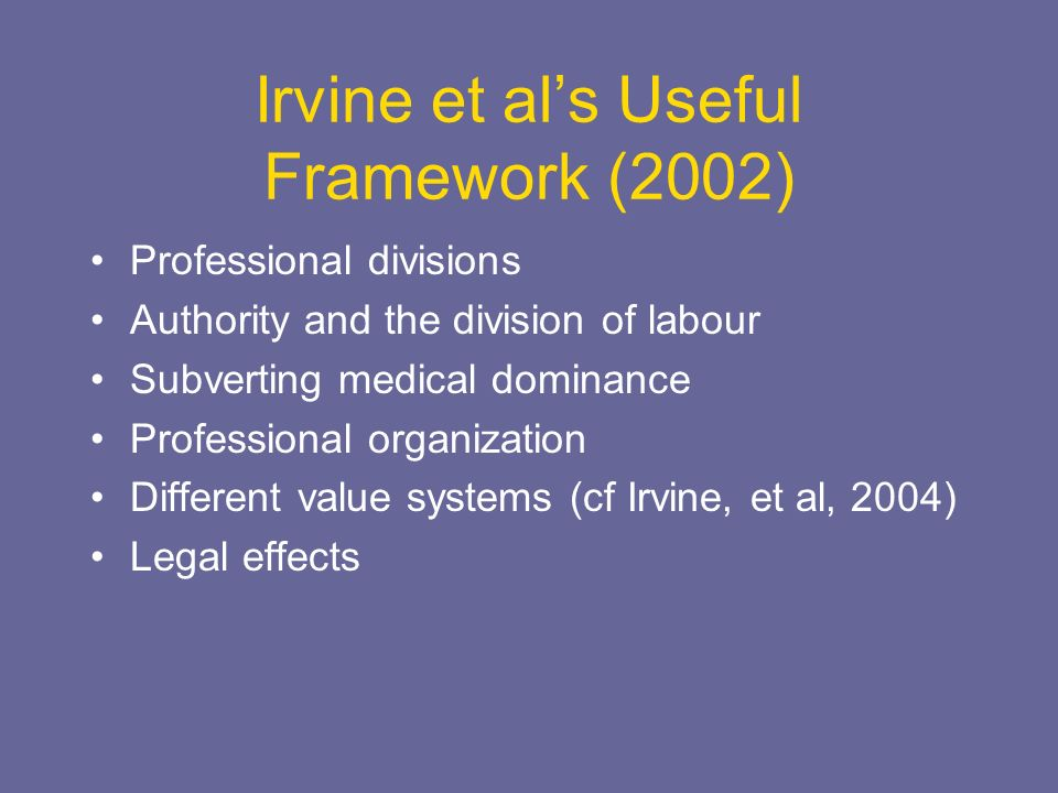 Irvine et als Useful Framework (2002) Professional divisions Authority and the division of labour Subverting medical dominance Professional organization Different value systems (cf Irvine, et al, 2004) Legal effects