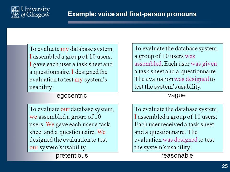 25 Example: voice and first-person pronouns To evaluate our database system, we assembled a group of 10 users.