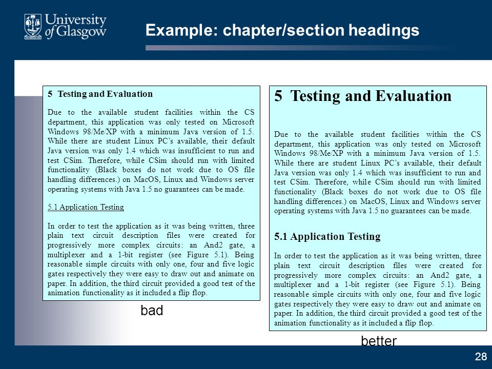 28 Example: chapter/section headings 5 Testing and Evaluation Due to the available student facilities within the CS department, this application was only tested on Microsoft Windows 98/Me/XP with a minimum Java version of 1.5.