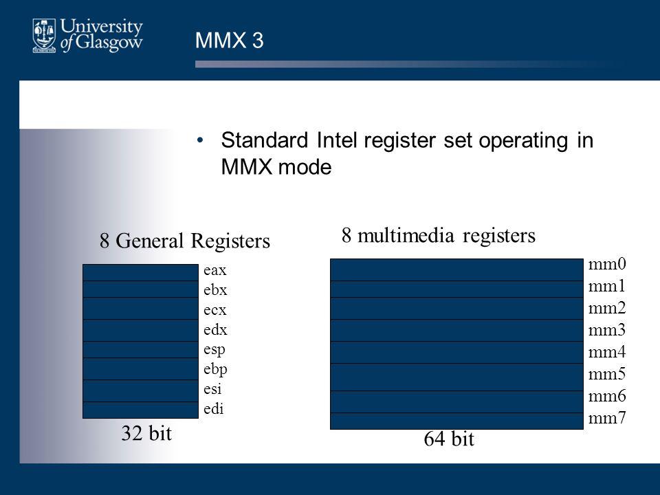 MMX 3 Standard Intel register set operating in MMX mode eax ebx ecx edx esp ebp esi edi 8 General Registers 8 multimedia registers 32 bit 64 bit mm0 mm1 mm2 mm3 mm4 mm5 mm6 mm7