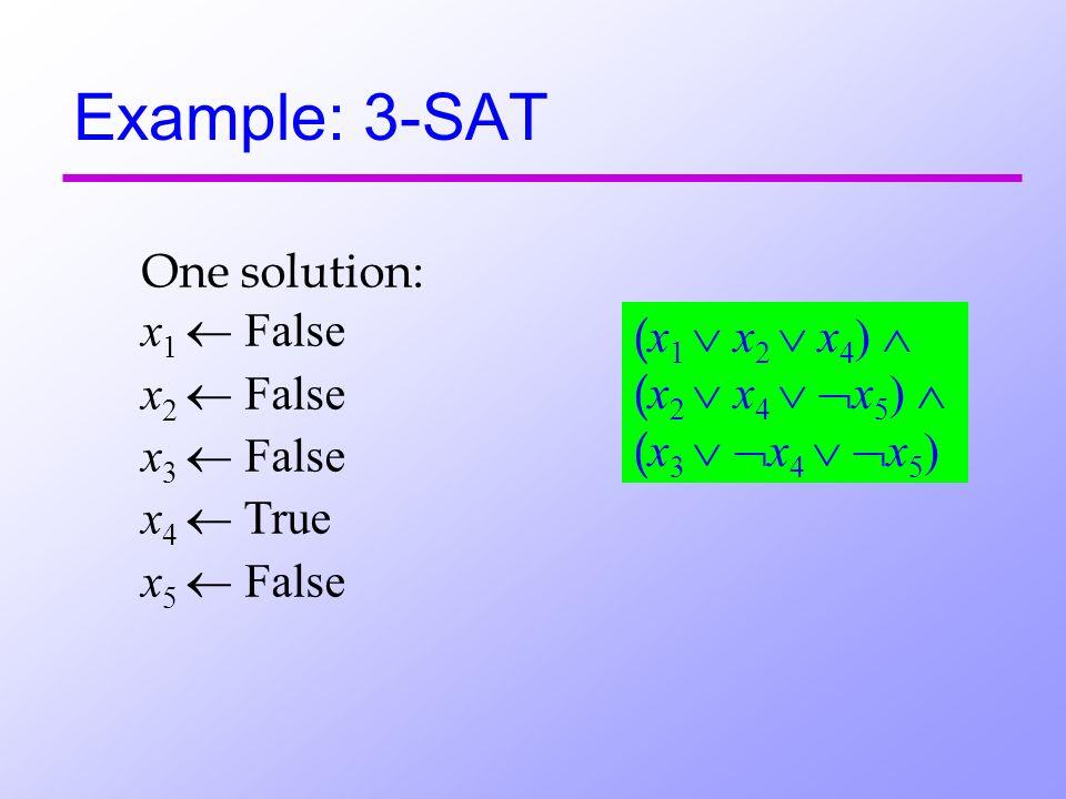 Example: 3-SAT One solution: x 1 False x 2 False x 3 False x 4 True x 5 False ( x 1 x 2 x 4 ) ( x 2 x 4 x 5 ) ( x 3 x 4 x 5 )