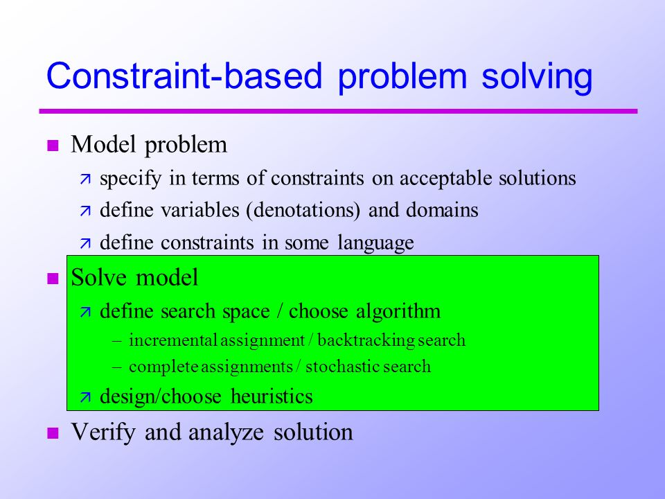 n Model problem ä specify in terms of constraints on acceptable solutions ä define variables (denotations) and domains ä define constraints in some language n Solve model ä define search space / choose algorithm –incremental assignment / backtracking search –complete assignments / stochastic search ä design/choose heuristics n Verify and analyze solution Constraint-based problem solving