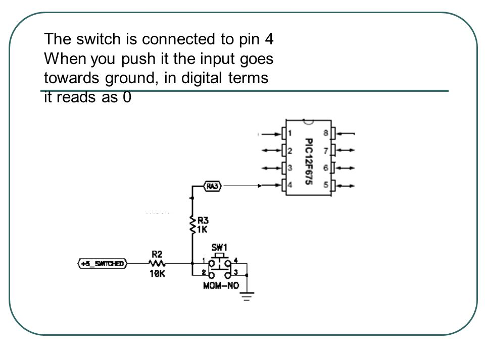 The switch is connected to pin 4 When you push it the input goes towards ground, in digital terms it reads as 0