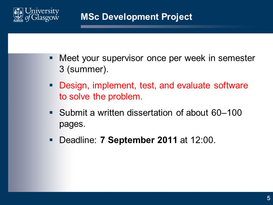 5 MSc Development Project Meet your supervisor once per week in semester 3 (summer).