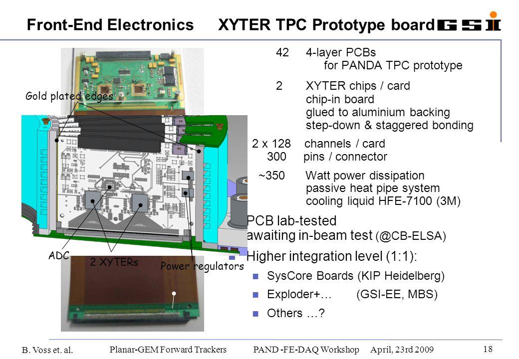 B. Voss et. al. 18 Planar-GEM Forward Trackers PAND -FE-DAQ WorkshopApril, 23rd 2009 Front-End Electronics XYTER TPC Prototype board 42 4-layer PCBs f