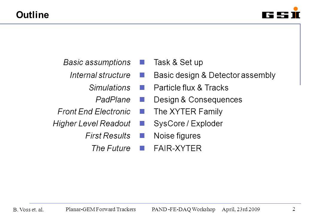 B. Voss et. al. 2 Planar-GEM Forward Trackers PAND -FE-DAQ WorkshopApril, 23rd 2009 Outline Basic assumptions Task & Set up Internal structure Basic d