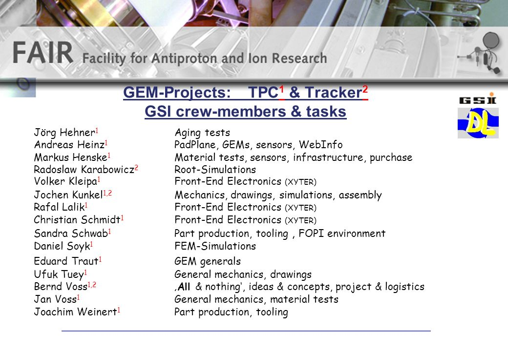 GEM-Projects: TPC 1 & Tracker 2 GSI crew-members & tasks Jörg Hehner 1 Aging tests Andreas Heinz 1 PadPlane, GEMs, sensors, WebInfo Markus Henske 1 Material tests, sensors, infrastructure, purchase Radoslaw Karabowicz 2 Root-Simulations Volker Kleipa 1 Front-End Electronics (XYTER) Jochen Kunkel 1,2 Mechanics, drawings, simulations, assembly Rafal Lalik 1 Front-End Electronics (XYTER) Christian Schmidt 1 Front-End Electronics (XYTER) Sandra Schwab 1 Part production, tooling, FOPI environment Daniel Soyk 1 FEM-Simulations Eduard Traut 1 GEM generals Ufuk Tuey 1 General mechanics, drawings Bernd Voss 1,2All & nothing, ideas & concepts, project & logistics Jan Voss 1 General mechanics, material tests Joachim Weinert 1 Part production, tooling